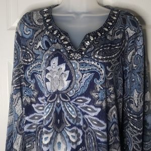 Alfred Dunner Blouse   Blue w/ Accents   Size L